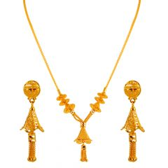 Glossy Finiah Drop Bell Gold Necklace Sets - 4SE676