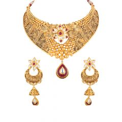 Floral Oxydise Chocker With Drop Pear And Kundan Necklace Set - 5-A12458