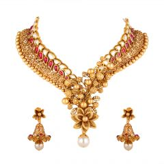 Antique Blossom Floral Design Kundan Necklace Set - 5-A12703