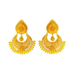 Traditional Embossed Cutout Chandbali Gold Earrings