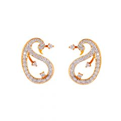 Glossy Finish Cluster Floral Peacock Design Diamond Earring - 50ADPS118