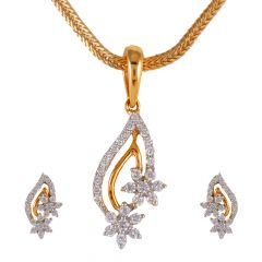 Floral Drop Cluster Diamond Pendant Set - 50ADPS70-50ADPS73