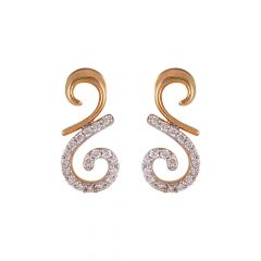 Pave Set Cluster Curved Diamond Earring - 51ADT80