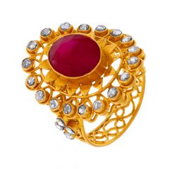 Classy Traditional Cutout Floral Polki Gemstone Gold Ring