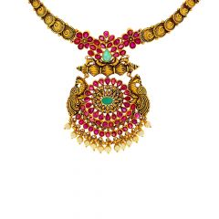 Antique Traditional Peacock Gemstone Gold Necklace
