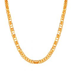 Glossy Finish Oval Jumbled Links Gold Chain - 5ACH764