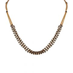 Glossy Finish Enamel With Multilines Black Beads Gold Mangalsutra-6-A1284