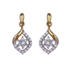 Glossy Finish Drop Floral Studded With CZ Gold Earrings-60-A2319