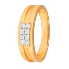 Prong Set Center Six Diamond Rose Gold Band Ring-60266710