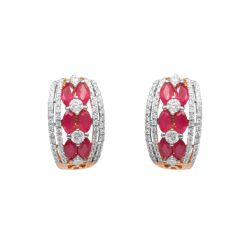 Prong Pressure Set Hoop Earrings With Pink Colour Stones-60279310