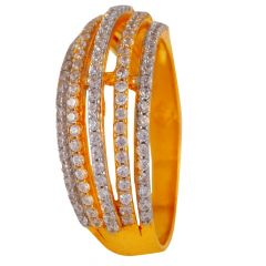 Layer CZ Studded Gold Band Ring - 60ALR1179