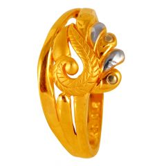 Matte Glossy Finish Two Tone Gold Leaf Ring - 60ALR1362