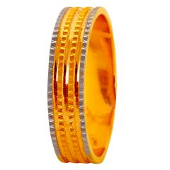 Matte Glossy Finish Two Tone Gold Band Ring - 60ALR1569