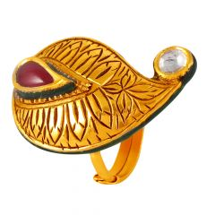 Glossy Oxydise Finish Curved Drop Kundan With Pink Stone Gold Ring  - 60ALR224