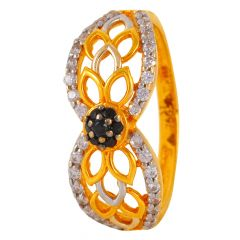Filigre Design Black Stone With  CZ Studdedd Dome Ring - 60ALR95