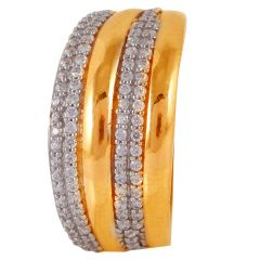 Rose Gold Cluster CZ Studded Layer Gold Ring - 60ALR975