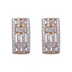 Baguette With Round Cut Studded CZ J Bali Design Gold Earrings-61-A1039