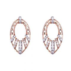 Glossy Satin Finish Filigree Leafy Cut Studded With CZ Gold Earrings-61-A1045