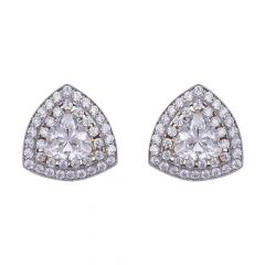 18kt Gold Sparkling Trident Cut Studded With CZ Studs Earrings-61-A732