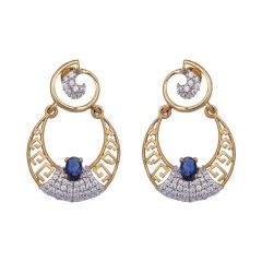 Dilkash Chand Bali Design With Synthetic Blue Stone Studded CZ Gold Earrings-61-A761