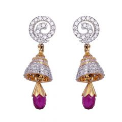 Spiral Glittering CZ With Drop Synthetic Ruby Dangler Gold Earrings-61-A846
