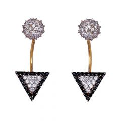 Detachable Design CZ Studded With Black Beads Stone Gold Earrings-61-A853