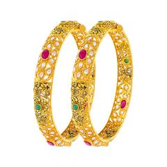 Ceremonial Textured Gemstone Gold Bangle (Set Of Two)