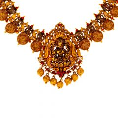 Ceremonial Gemstone Temple Gold Necklace