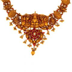 Traditional Temple Floral Gold Gemstone Necklace