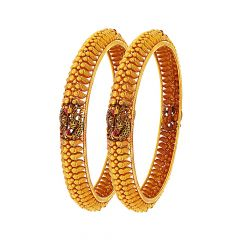 Antique Peacock Gemstone Gold Bangle (Set Of Two)