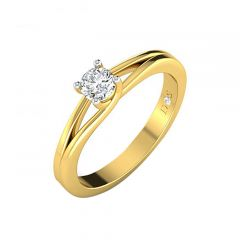 Elegant Single Solitaire Split Shank Diamond Ring-RF1329-R