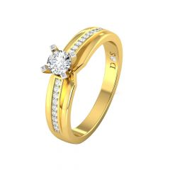 Sparkling Single Solitaire Diamond Gold Ring-RF1685-Y