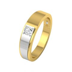 Trendy Single Solitaire Two Tone Diamond Ring-RM1287-Y