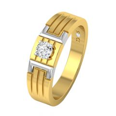 Trendy Sublime Strokes Solitaire Diamond Ring For Him-RM1295-Y