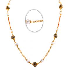 22kt Multicolour Enamel Coral With Pearl Beads Gold Chain-7-A149