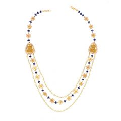 Ceremonial Temple Floral Gemstone Gold Necklace