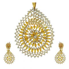 Clustered Diamond With Yellow Stone Pendant Set- vjps6022-pser6022