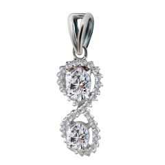18kt White Gold Pave Prong Set Cluster With Oval Cut Diamond Infinity Pendant-7KCLZ