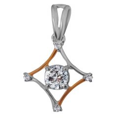 18kt Two Tone Gold Prong Solitaire Diamond Square Pendant-7T7T8