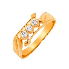Dazzling Three Stone Diamond Men Gold Ring