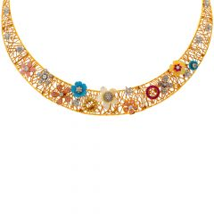 Designer Cutout Enamel Floral CZ Colourstone Gold Necklace