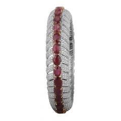 Glamorous Eternity Natural Ruby With Micropave Set Diamond Bracelet-8045-5654-001