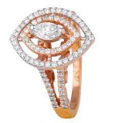 Glittering Marquise Cut Pave Set Diamond Ring-8045-7366-001