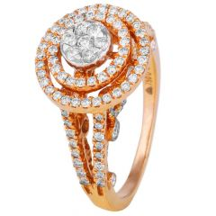 Elegant Sparkling Circle Rose Gold Diamond Band Ring-8045-7912-001