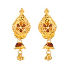 22kt Gold Filigree Enamel Earring - 86-A31937