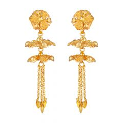 Floral Top And Drop Chain Link Gold Earrings - 86-A33417