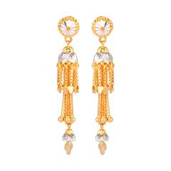 Glossy Glittering Diamond Cut Multilayer Box Links Floral Rhodium Gold Earring - 86-A33538