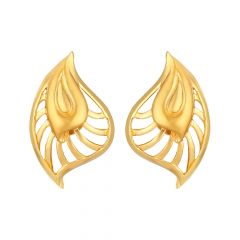 Leaf Design Gold Earring - 86-A34008