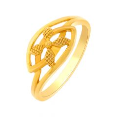 Enhanced Textured Floral Gold Ring