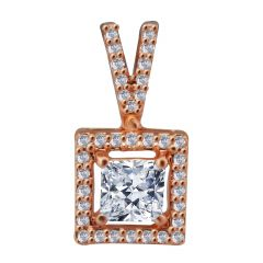 18kt Rose Gold Pave Prong Set Cluster With Princess Cut  Solitaire Diamond Square Pendant-8NIGG